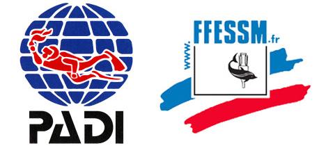 Logo des formations FFESSM et PADI