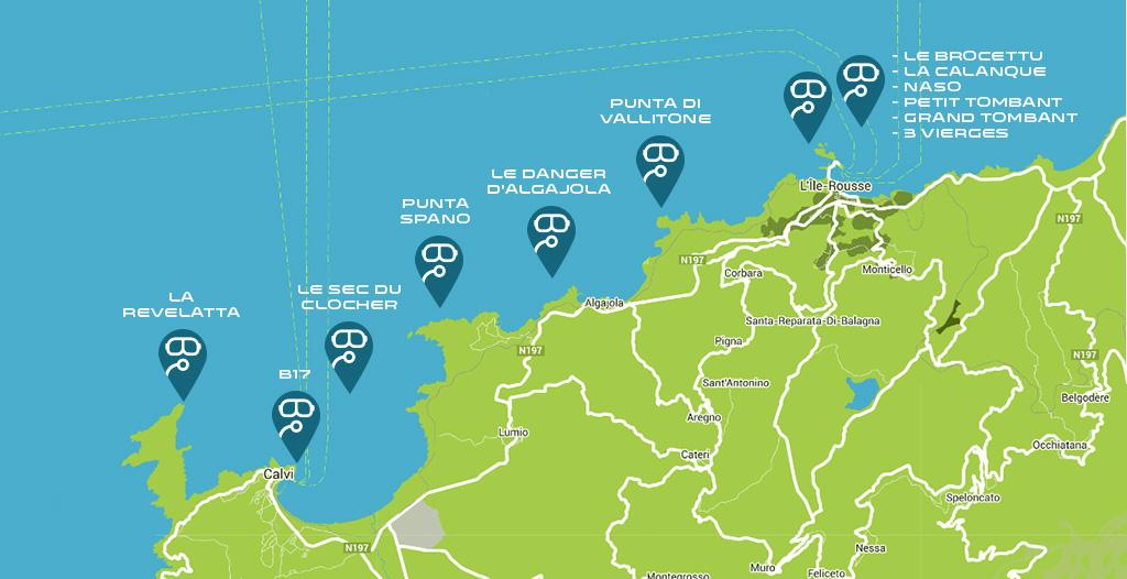 La carte des plongées d'exploration : La Revelatta, l'épave du B17, le sec du clocher, punta Spano, Le danger d'Algajola, la punta Vallitone, le Brocettu, la calanque, Naso, le petit et le grand tombant et les 3 vierges.
